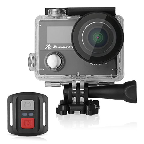 Powerextra 4K Action Camera 12MP Ultra HD Waterproof Sports Cam with Built-in WiFi 170 Degree Wide Angle Lens with LCD Screen 2.4G Remote Control (26 Accessories Kit Included) by Powerextra