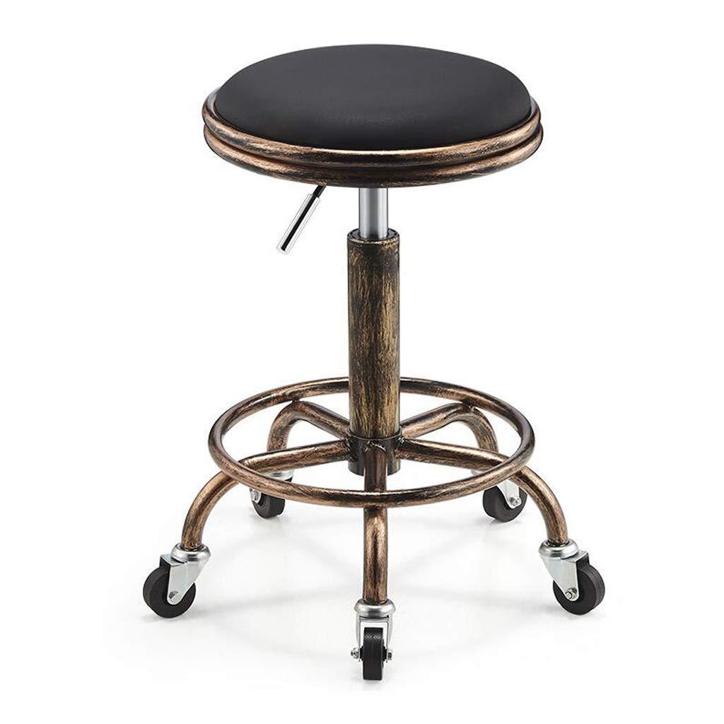 バースツールレトロスチールPUスツール作業ベンチ理髪椅子バーチェアチェアユニバーサルホイール理髪スツール FENPING (Color : D) B07TWD24XX D