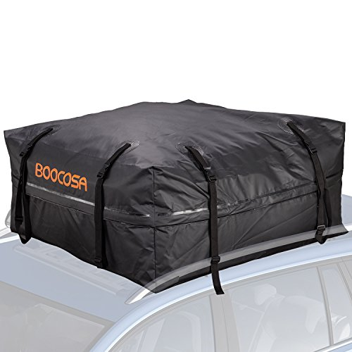 Waterproof Soft Roof Top Cargo Bag (15 Cubic Feet) with Straps, Protective Mat and Storage Bag- BOOCOSA (15 Cubic Feet - Premium)