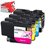 Kingway Compatible Ink Cartridge Replacement for Brother LC3033 LC3033XXL Work with MFC-J995DW MFC-J995DWXL Printer (Black, Cyan, Magenta, Yellow, 4-Pack)