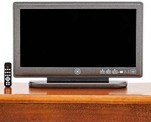 Dollhouse Miniature Television TV Set Retro Style Black /& Silver 1:12 Scale