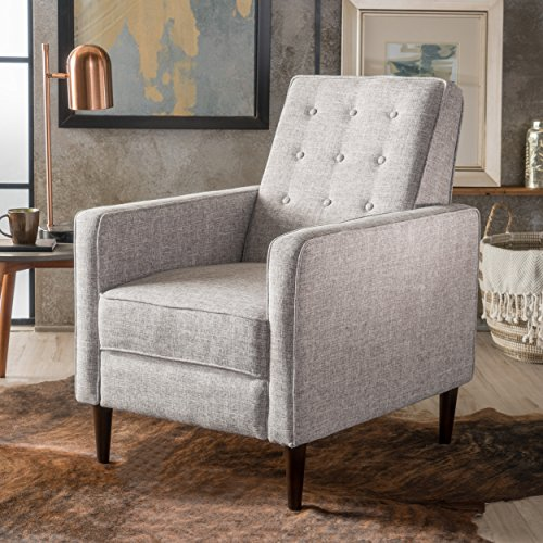 Christopher Knight Home 300596 Macedonia Mid Century Modern Tufted Back Light Grey Tweed Fabric Recliner