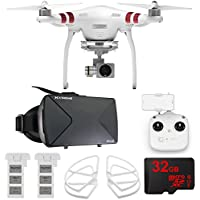 DJI Phantom 3 Standard Quadcopter Drone + 2.7K Camera FPV Virtual Reality Experience includes Drone, Virtual Reality Viewer, Intelligent Flight Battery, Propeller Guards and 32GB microSDHC Memory Card