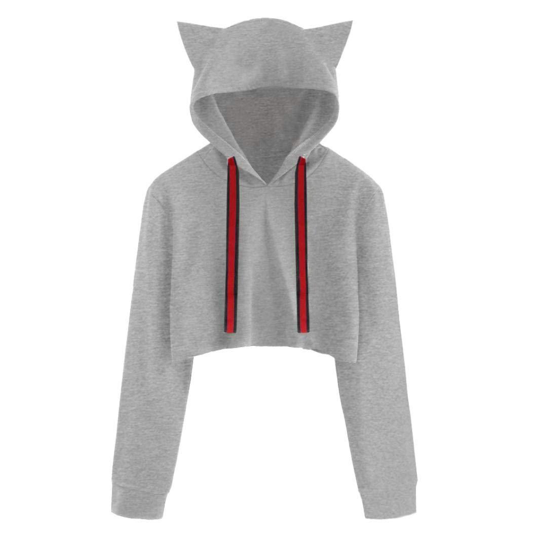 HARRYSTORE Womens Teen Girls Cute Cat Ear Crop Top Hoodies Sweatshirt Long Sleeve Pullover Tops Blouse