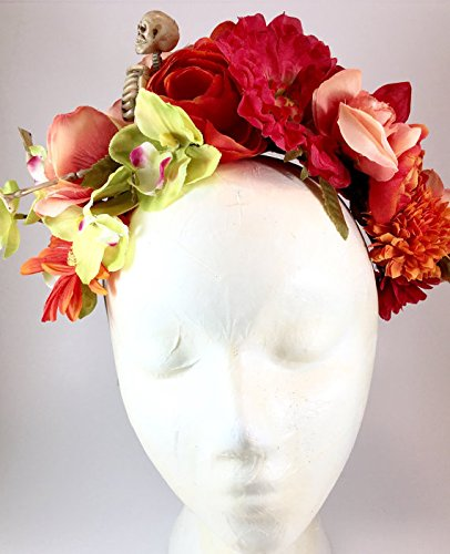 Frida Kahlo Flower Crown Day of the Dead Skeleton Orange Pink Floral Headband Mexican Wedding