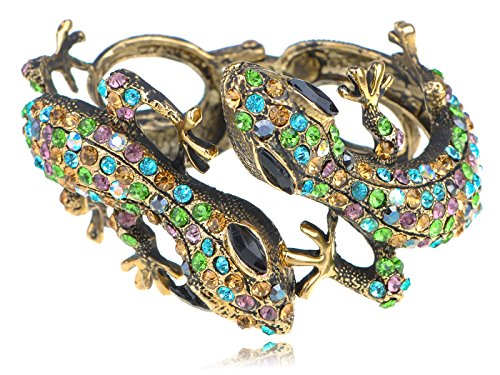 Alilang Antique Golden Multicolored Rhinestones Colorful Lizard Gecko Cuff Bracelet