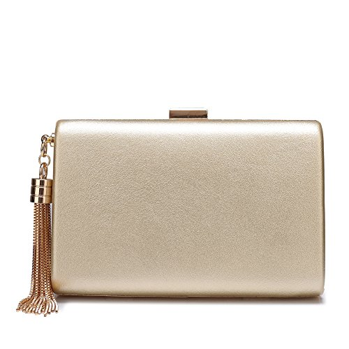 Minicastle Leather Evening Clutch Handbag Clutch Purse Prom for Cocktail Wedding Women Gold
