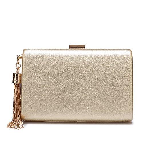 Leather Evening Clutch Handbag Clutch Purse Prom For Cocktail Wedding Women Gold