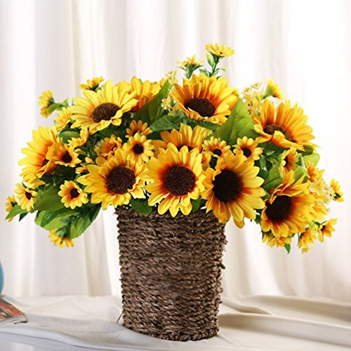 Sunrisee Artificial Sunflowers 4 Bunches Fake Silk Flower Bouquet Artificial Flowers for Home Wedding Office Party Decor, 11.8''