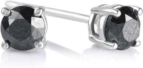 .925 Sterling Silver Black Solitaire Diamond Studs Basket Set Earrings 0.17 Ct.