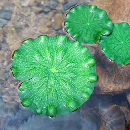 superdream Artificial Realistic lily pads Floating Scenery lotus Pods for Pool Decoration Aquarium Fish Pond Water Decorative (Pack of 6, 40 30 20 18 15 10cm)