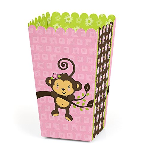 Pink Monkey Girl - Baby Shower or Birthday Favor Popcorn Treat Boxes - Set of 12 -