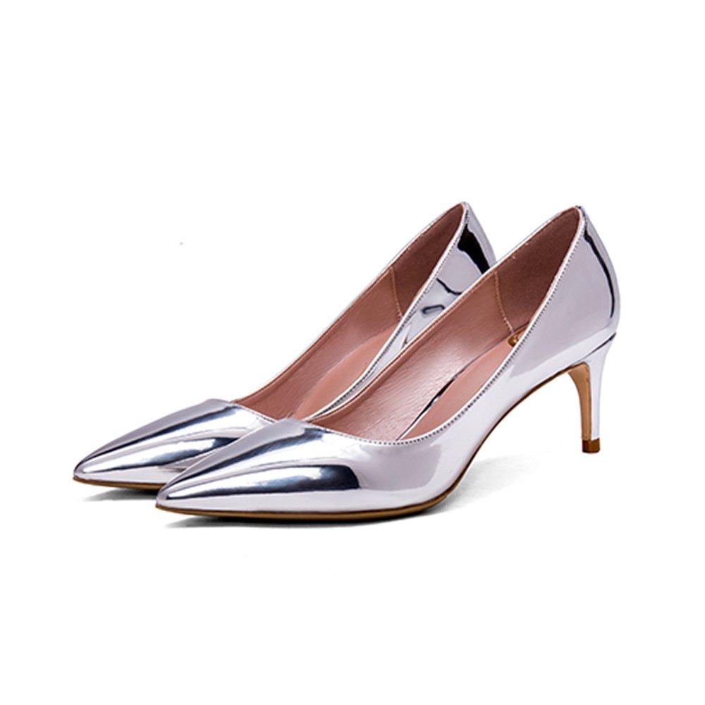 Tacones altos limpios plateados 6cm, puntiagudos con zapatos de satén de seda real de boca baja ( Color : Silver6cm , Tamaño : 34 ) 34