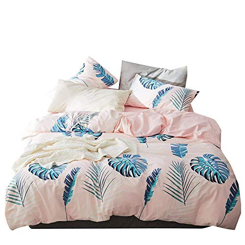 Pink Twin Bedding Sets Cotton 100 for Girls Kids Teen Reversible Checkered Duvet Cover Set with Zipper Closure Corner Ties Casual Cartoon Leaf Pattern Bed Sets, Home Textile Bedding Gift Sets, Twin (Pattern Casual Cartoon)
