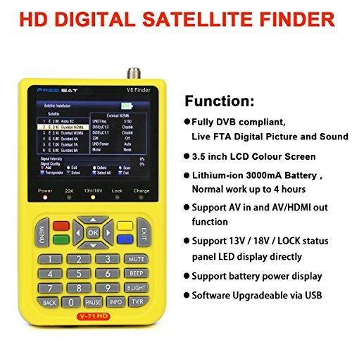 Signstek Freesat V8 Finder Digital Satellite Finder 950 to 2150 MHz DVB-S/S2, H.264 Fully DVB Compliant, Built-in 3000mAh Battery Satellite Finder Support Multi-language Satellite TV