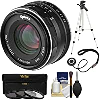 Opteka 50mm f/2 HD MF Prime Lens with 3 UV/CPL/ND8 Filters + Tripod + Kit for Sony Alpha E-Mount Digital Cameras
