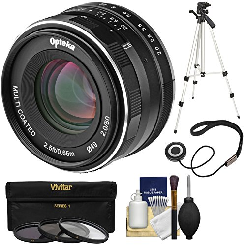 Opteka 50mm f/2 HD MF Prime Lens with 3 UV/CPL/ND8 Filters + Tripod + Kit for Sony Alpha E-Mount Digital Cameras by Opteka (Image #7)