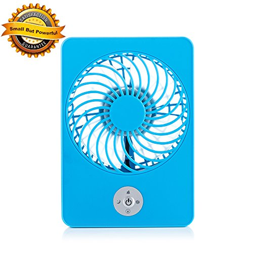 UPC 613868231723, USB Fan, 3 Speed Rechargeable Table Fan, Portable and Compact Mini Personal Hand-held Fan for Home and Travel, 18650 Battery and USB Cord Included (Blue)
