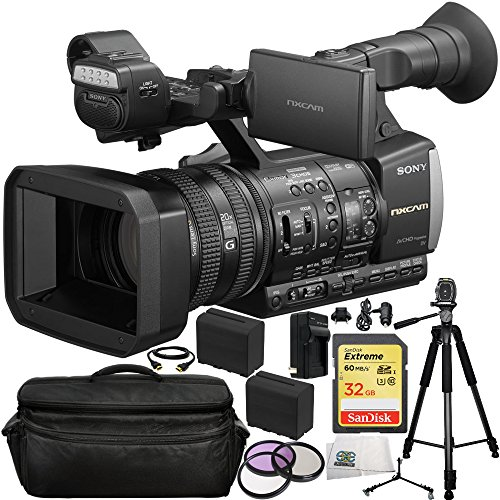 Sony HXR-NX3/1 NXCAM Professional Handheld Camcorder 14PC Accessory Kit. Includes SanDisk 32GB Extreme SDHC Class 10 Memory Card (SDSDXN-032G-G46) + 3PC Filter Kit (UV-CPL-FLD) + 2 Extended Life Replacement F970 Batteries + AC/DC Rapid Home & Travel Charger + Full Size Tripod + Tripod Dolly + HDMI Cable + Carrying Case + Microfiber Cleaning Cloth