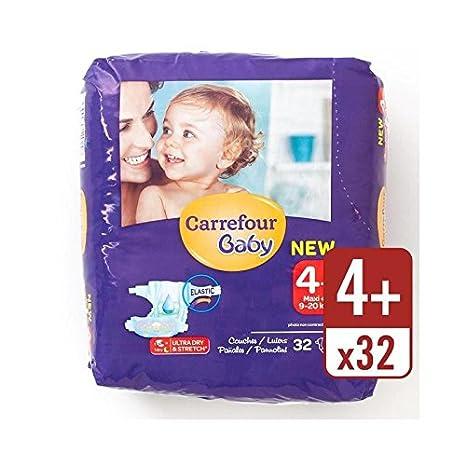 Carrefour Bebé Seca Tamaño De Ultra 4+ Pañales Llevan Paquete De 32 Por Paquete - Paquete de 6: Amazon.es: Bebé