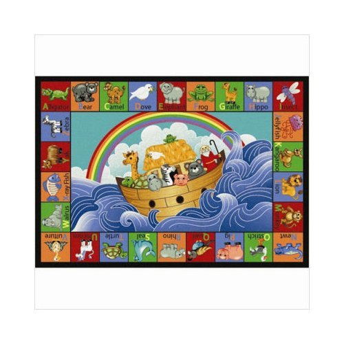 Joy Carpets Kid Essentials Inspirational Noah's Alphabet Animals Area Rug, Multicolored, 5'4