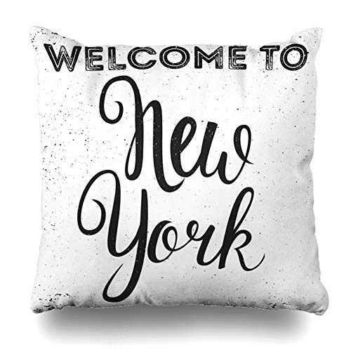 Ahawoso Decorative Throw Pillow Cover Vintage Americana Hand Lettered New York Script American Badge Brush Chic City Coast Lettering Zippered Design 18