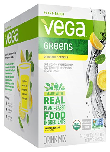 Vega Organic Greens Drink Mix, Mint Lemonade, 0.2oz, 16 Count