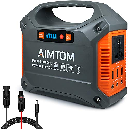 AIMTOM 42000mAh 155Wh Portable Power Station Solar Rechargeable Lithium-iON Battery with 110V AC Outlet, 3 DC Ports, 3 USB Ports, 12V Car Port, LED Flashlights for Camping Travel CPAP Emergency