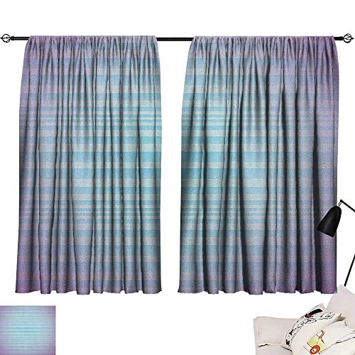 Modern Insulated Darkening Curtains Abstract Rising Colors Motif with Minimalist Effects and Striped Concept Artwork Curtain Kitchen Blue Purple W55 x L39