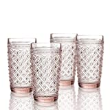 Elle Decor 229807-4HBPU Bistro Ikat 4 Pc Set Highball, Pink-Glass Elegant Barware and Drinkware, Dishwasher Safe, 13 oz,