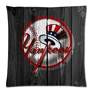 Butuku Custom Cotton & Polyester Soft Square Zippered Cushion Throw Case Pillow Case Cover 18X18 (Twin Sides) - Fashion American MLB New York Yankees?¨º?¡ì NY ?¨º? Graffiti Logo Baseball Star Stripe Spot Design Vintage Retro Wood Background Cool Personalize by ruishername