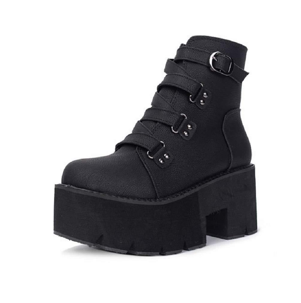 SHANGWU Frauen Damen Gothic Rock Punk Schnalle Heels Plattform Stiefeletten Frauen Block Chunky Heels Mode Mittlere Waden Stiefel Feste Niet Kurze Stiefel