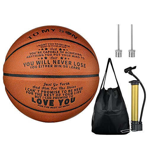 CaleesLLC to My Son 29.5 Inch Basketball Engraved You Will Never Lose Encouragement Gift for Graduation Birthday