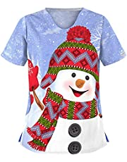 Scrubs Tops Women Printed Christmas Nurse Tshirt V-Neck Casual Tunic with Pocket Uniforme Medical Femme Motif
