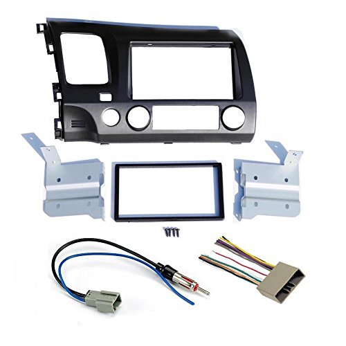 Honda Civic 2006 2007 2008 2009 2010 2011 Dark Grey Aftermarket Radio Stereo Double Din Install/Installation Dash Kit with Wiring Harness and Antenna Adapter