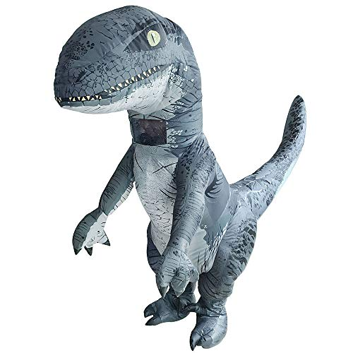 Velociraptor Inflatable Costume Halloween Fancy Dress Cosplay Animals Blow Up Jumpsuit for Adult (Velociraptor)