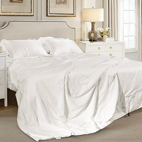 ELLESILK White Summer Cotton-Covered Silk-Filled Duvet, Naturally Breathable, Twin Size - Red Rose Dupioni Silk