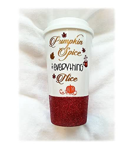 Pumpkin Mug, Pumpkin Spice Latte, Fall Mug, Pumpkin Spice Gift,Pumpkin Spice and Everything Nice,Fall Gift,Halloween Mug, Custom Glitter