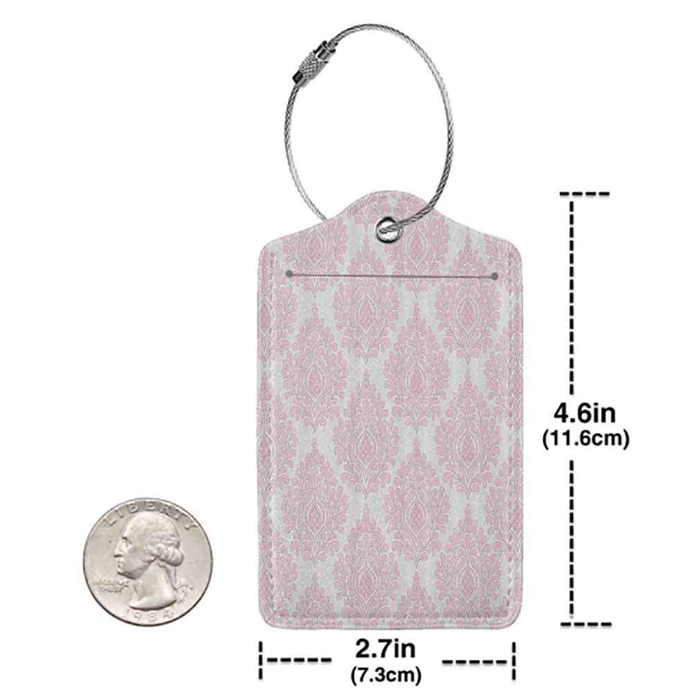Multi-patterned luggage tag Damask Decor Damask Pattern Royal Motif Baby Pink Floral Design Victorian Fashioned Home Decor Double-sided printing Pink White W2.7 x L4.6