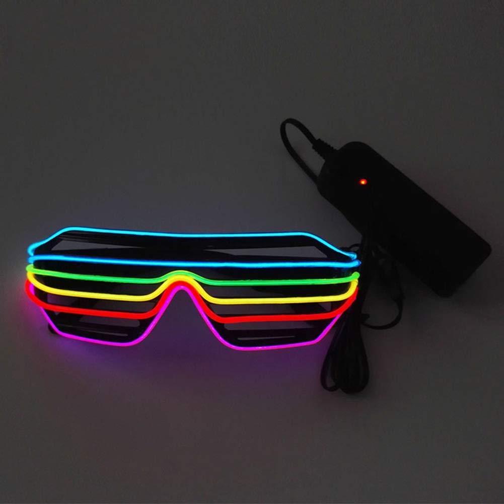 Novelty Luminous Shutter Glasses Adjustable EL Wire LED Sunglasses Light Up Neon Rave Glasses