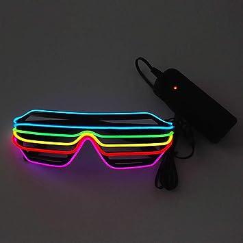 Lerway Black Frame Neon El Wire LED Lighting Up Slotted Shutter Glasses Novelty