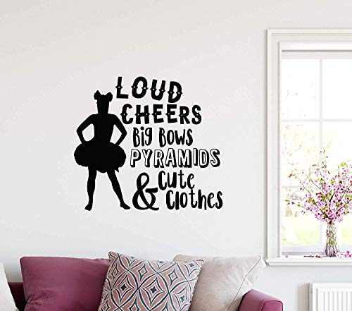 Funny Sayings Cheerleader Silhouette Loud Cheers Big Bows Pyramid and Cute Clothes Football School Art DIY Removable Room Wall Decals Decor Vinyl Sticker Q6579 ()