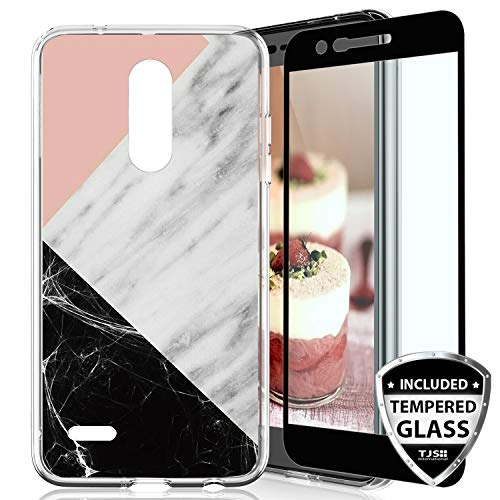 (TJS Case for LG Aristo 2/Aristo 2 Plus/Aristo 3/Aristo 3 Plus/Tribute Dynasty/Tribute Empire/Fortune 2 [Full Coverage Tempered Glass Screen Protector] Marble Transparent Clear Soft Skin (Black/Pink))