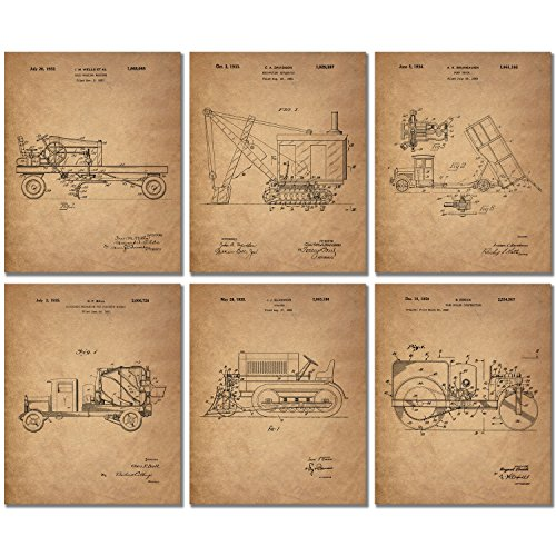 Construction Trucks Patent Prints - Set of 6 Vintage Vehicle 8x10 Photos