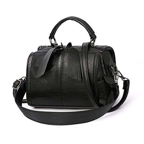 Mn&Sue Women Small Boston Bag PU Leather Handbag Top Handle Barrel Design Satchel Crossbody Lady Purse (Black)