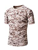 ZLSLZ Men's Military Tactical Casual Camouflage Quick Dry T-Shirts Top Tees Outerwear Desert Camo US M