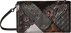 COACH Women's Embossed Canyon Quilt Fold-Over Crossbody DK/Black Multi Clutch