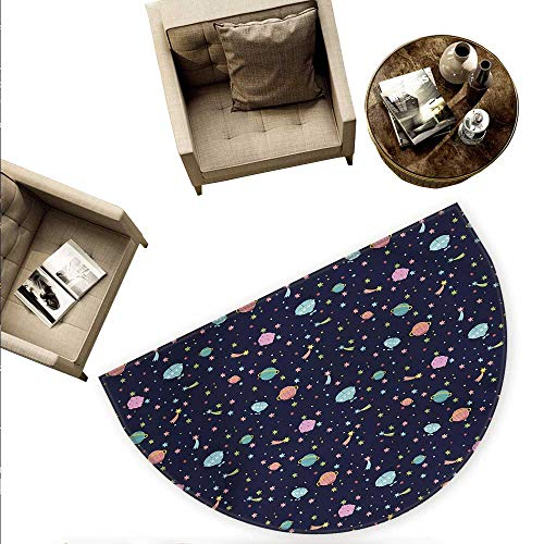 - Space Half Round Door mats Alien Planets with Shooting Stars and Polka Dots Galaxy Heavenly Bodies Asteroid Bathroom Mat H 78.7