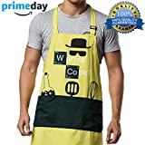 Kitchen Aprons Chef Cooking Baking - Famgem Professional Bib for Men, Women, Grill, BBQ, Outdoor, Camping, Home/100% Cotton, 3 Large Pockets, Adjustable