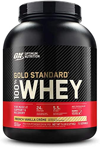 Optimum Nutrition Gold Standard 100 Whey Protein Powder, French Vanilla Creme, 5 Pound Packaging May Vary